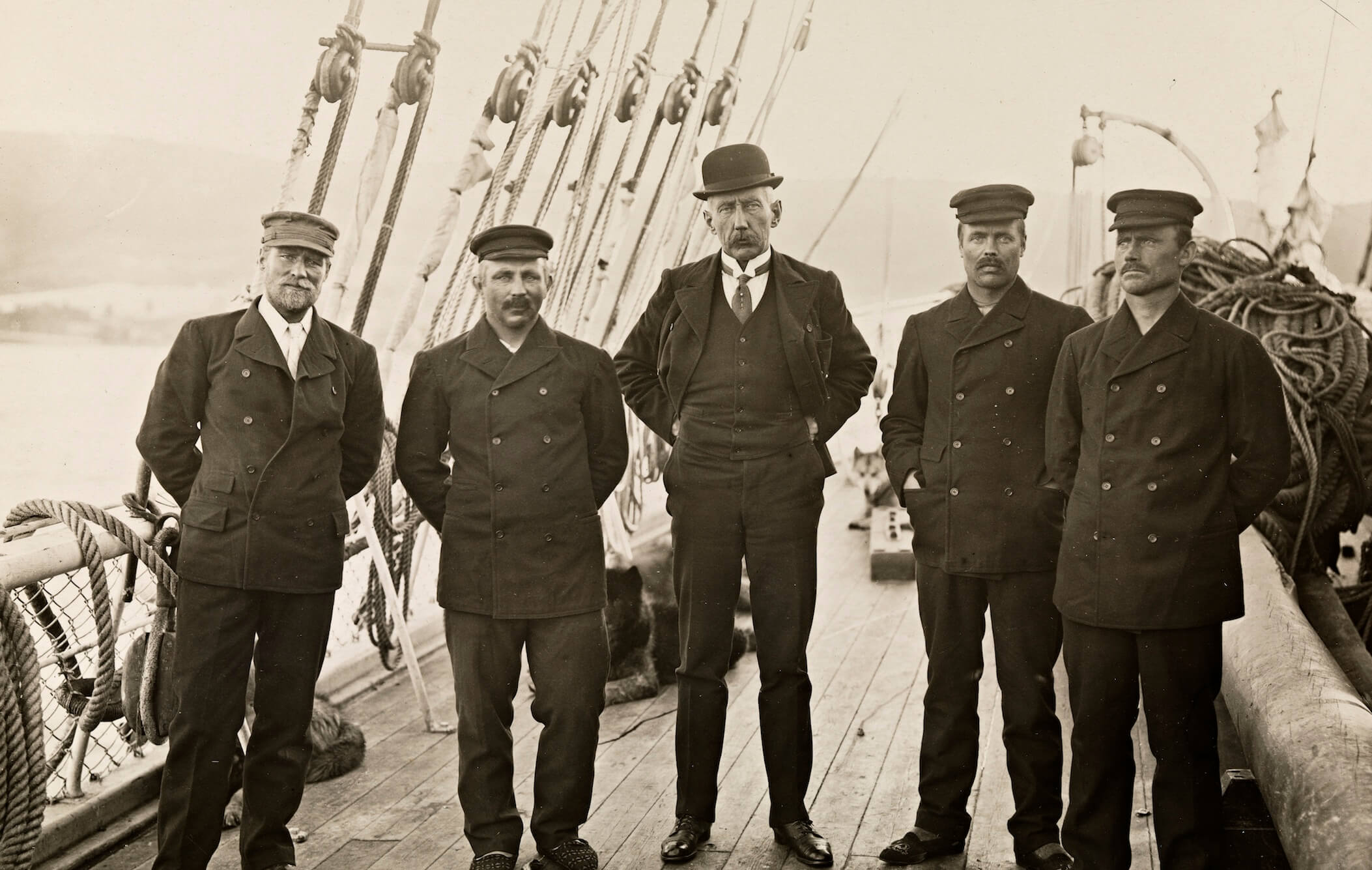 Roald Amundsen and his crew in Antarctica