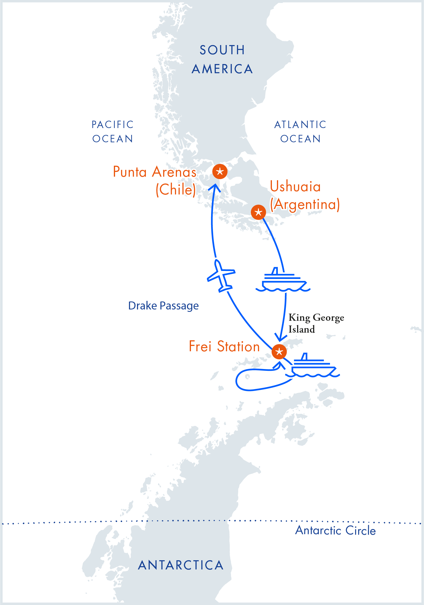 Map of Antarctica Express Air-Cruise itinerary by Antarctica21